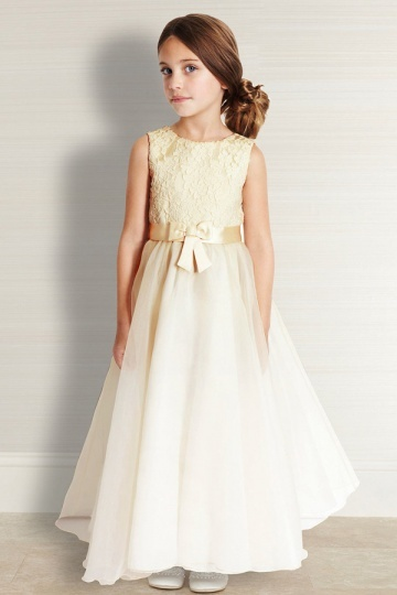 Beautiful Ivory Lace Applique Organza Flower Girl Dress