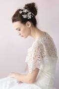 Kristall Spitze Ivory Braut Haarschmuck