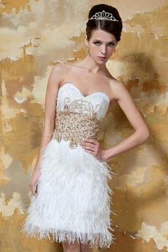 Petite robe sublime avec plumes pour mariage