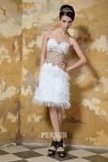 Feder verziertes Kurzes Herz-Ausschnitt Brautkleider