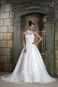 Spitze bedeckt Halsausschnitt Weißes Brautkleider mit Schnürung