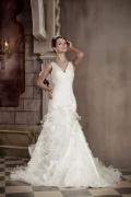 Chic V-Ausschnitt Schlichtes Brautkleider aus Organza