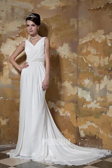 Elegant Etui-Linie V-Ausschnitt weißes Brautkleider aus Chiffon Persun