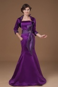 Modern Trumpet Purple Satin Long Flower Mother Of The Bride Dress
