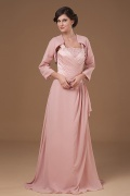 Simple Elegent Chiffon Beading Ruching Mother of the Bride Dress with Jacket