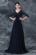 Noble Chiffon V neck Lace Beading A line Mother of the Bride Dress