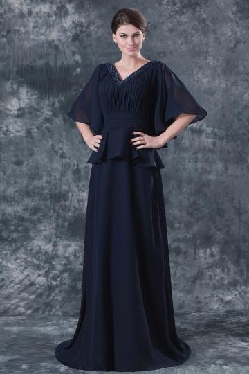 Vestido mãe da noiva longo decote em V com manga morcego