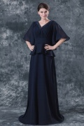 Elegent Chiffon V neck Ruffle Beading A line Mother of the Bride Dress