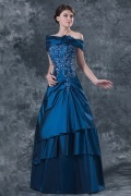 Elegent Taffeta Strapless Lace Beading A line Mother of the Bride Dress