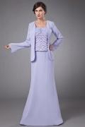 Vestido mãe da noiva lavanda pregueado decorado de lantajoulas coloridas