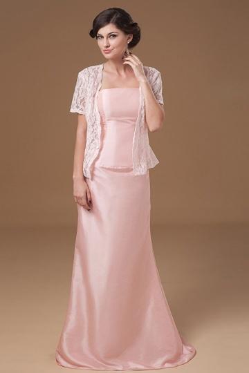 Vestido de noite rosa bustiê em tafetá simple e longo
