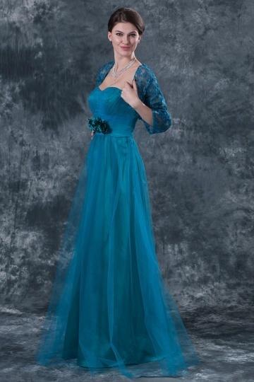 Vestido de noite bustiê coração Império decorado de flores em Tule