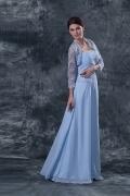 Chiffon trägerloses Spitze Perlen Abendkleid mit Bolero