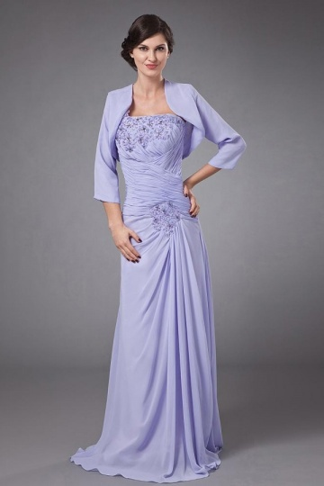 Dressesmall Chic One Shoulder Long Purple Mother of The Bride Dress With Jacket