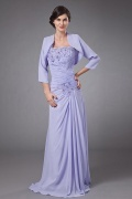 Chic One Shoulder Long Purple Mother of The Bride Dress With Jacket