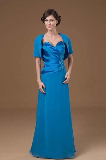 Dressesmall Chiffon Sweetheart Blue Long Embroidery Mother Of The Bride Dress