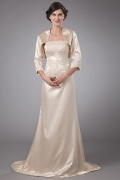 Elastic Woven Satin Strapless Lace Applique Mother of the Bride Dress with Jacket