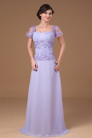 Dressesmall Classic Lavender Chiffon Square Embroidery Long Mother of The Brides Dress