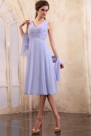 Vestido de mãe de noiva lilás linha A plissado em Chiffon