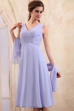 Simple Tea Length Sleeveless Chiffon Lavender Mother Of the Bride Dress