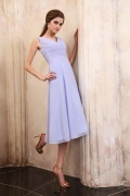 Simple V Neck Chiffon Tea Length Empire Mother of The Brides Dress