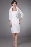 Simple Sheath Short Strapless White Beads Mother of The Brides Dress