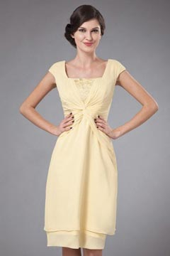 Simple Chiffon Cap Sleeves Daffodil Mother Of the Bride Dress