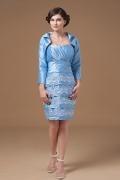 Vestido mãe de noiva Sem alça azul claro envelope pregas jugo rendas
