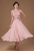 Elegent Chiffon Round Neck Beading Mother of the Bride Dress