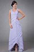 Vestido de mãe de noiva lilás plissado Sem alça pregueado decorado de jóias
