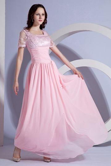 Vestido mãe de noivo rosa Império plissado renda linha A