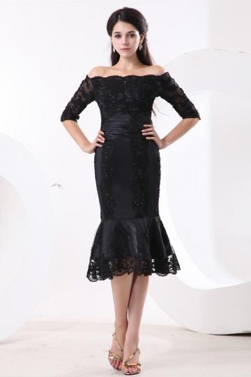 Pequeno Vestido preto de mãe de casamento sereia rendas decorado de jóias