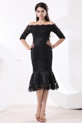 Elegant Off Shoulder Sequins Black Tea Length Satin Dress