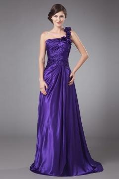 Robe violette pour mère du marié ruchée ligne-A à seule épaule