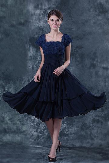 Vestido de renda azul elegante para a mãe de casamento com mangas