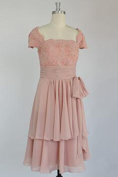 Elegant Square Chiffon A Line Tea Length Blue Mother Of The Bride Dress