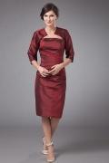 Vestido de Borgonha para a mãe de casamento com bolero de renda