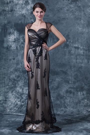Dressesmall Elegant Black Tulle Sheath A Line Square Long Evening Dress
