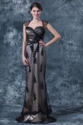 Elegant Black Tulle Sheath A Line Square Long Evening Dress