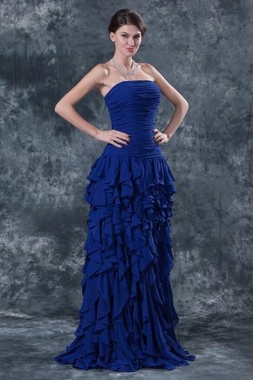 Dressesmall Simple Chiffon Strapless Blue A Line Flouncy Long Evening Dress