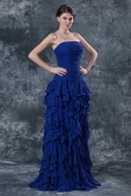 Simple Chiffon Strapless Blue A Line Flouncy Long Evening Dress