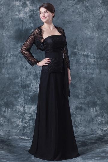 Vestido longo de mãe da noiva renda em Chiffon preto