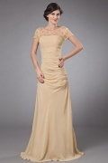 Elegent Chiffon Oval Collar Beading Ruching Mother of the Bride Dress