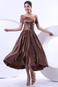 Simple Boat Neck A Line Tea Length Evening Dress With Sleeves