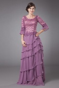 Delicate Chiffon Round Neck Lace Beading Ruffle A line Mother of the Bride Dress