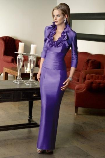 Vestido mãe de noiva roxo franzido caixa personalizada