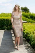 Vestido ouro de mãe da noiva curto bustiê em cetim personalizada