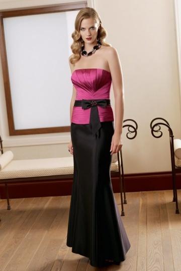 Vestido longo de noite sereia contraste rosa laço preto