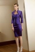 Vestido para os idosos envoltório violeta tafetá