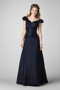 Vestidos de Baile longo Império linha A em cetim azul escuro